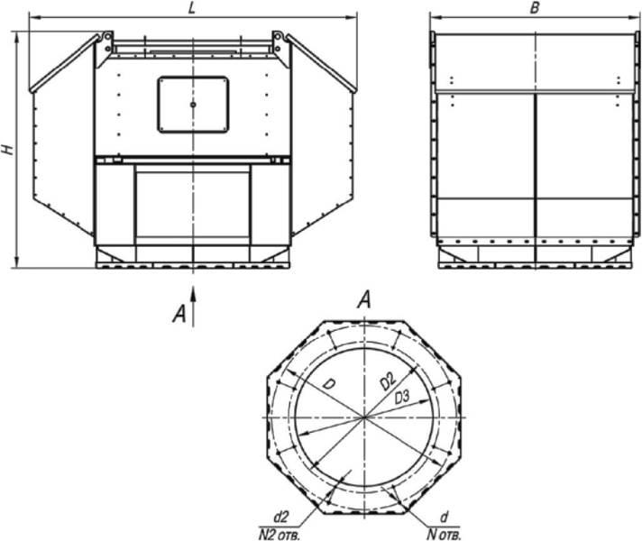 ВКРВ-3,55 ДУ габаритные и присоединительные размеры